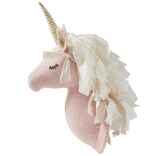 Mud Pie Baby Girl Dream in Glitter Nursery Decor Unicorn Wall Mount 12 inches (White) (Lurex Design Embroidered)