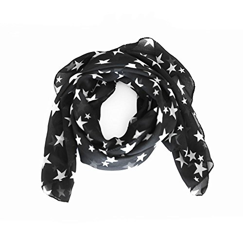 arssilee black Fashion Beautiful Warm Star Pattern Scarf Shawl (Stars Infinity Scarves)