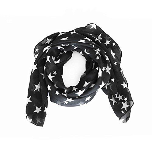 (arssilee black Fashion Beautiful Warm Star Pattern Scarf Shawl)