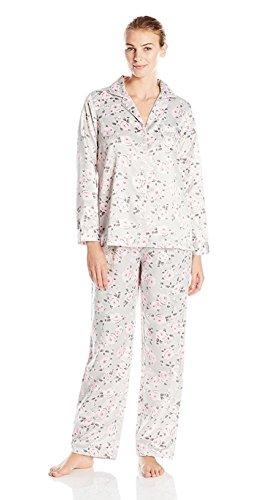 Carole Hochman Women's Brush Back Satin Pajama, Floral, Small ()