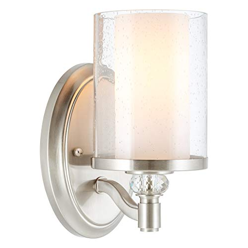 "Kira Home Victoria 10"" Transitional Wall Sconce, Frosted Glass Inner Shade + Clear Seeded Glass Outer Shade, Brushed Nickel Finish"