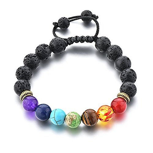 Mystiqs Adjustable Lava Rock Beaded Stone Bracelets Essential Oil Diffuser for Men/Women + FREE Aromatherapy E-book Ideal for Anti-Stress or Anti-Anxiety