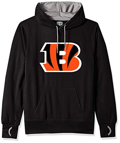 NFL Cincinnati Bengals Male OTS hooded Pullover, Jet Black, Large