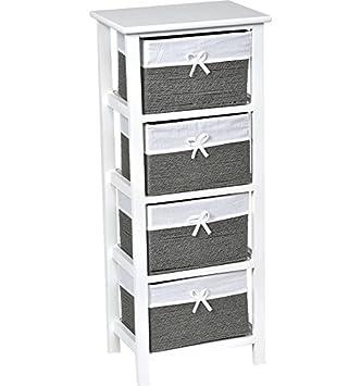 meuble chiffonnier 4 tiroirs aspect osier coloris blanc et gris