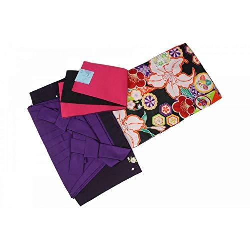 粘液長いですボクシング二尺袖 3点セット WUN-2-3s 着物?刺繍ぼかし袴(紫)?おまかせ帯