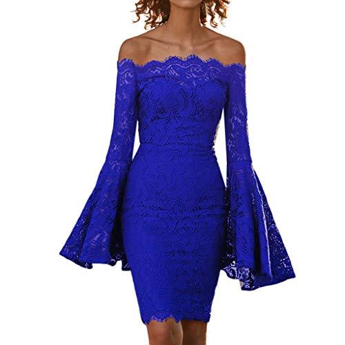 A Vestito Del Donna Donne Corte Sexy EleganteZarupeng 2019 Blu Mini Abito In Pizzo Banchetto Lunghe Al Elegante Maniche Notturno Da Sera Bar rdCoQBEWxe