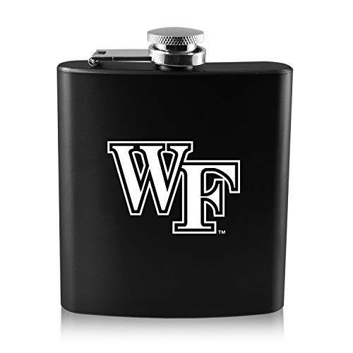 【保障できる】 Wake University Forest University Forest - 6オンスカラーステンレススチールflask-black Wake B0188J1RIS, 渡名喜村:b54b8ab1 --- adornedu.com