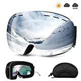 NARUTOO UV Protection Ski Goggles,Detachable Lens System,UV400 Protection and Anti-Fog,Imported Double-Layer Anti Fog Lens,Design Compatible Glasses,with Box for Men,Women,Teenager or Kids