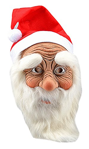 Maze Fun Realistic Santa Claus White Beard & Red Cap Full Face Latex Mask, 1- One -