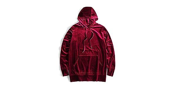 HANGJIA Mens Velvet Hoodies Velour Hooded Sweatshirt for Women Hip Hop Kangaroo Pocket