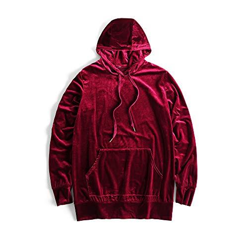 (HANGJIA Men's Hoodies Hip Hop Swag Velvet Velour Long Sleeve Hooded Sweatshirt Red L)