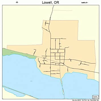 Lowell Oregon Map.Amazon Com Large Street Road Map Of Lowell Oregon Or Printed