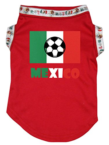 - Petitebella Soccer Flag of Mexico Cotton Shirt Puppy Dog Clothes (X-Large, Red)