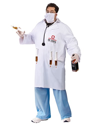 Plus Size Doctor Costume White Lab Coat Dr Shots Drinking Costume Sizes: One (Dr Girlfriend Costume For Sale)