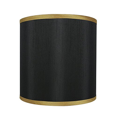 Urbanest Black with Gold Trim Faux Silk Classic Drum Lampshade, 10-inch by 10-inch by (Black Classic Drum)
