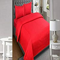 SINGHS MART Presents Fitted 240TC100% Cotton Plain/Solid Red Bedsheet for Single Bed with Matching 1 Pilllow Cover for Your Bed Room