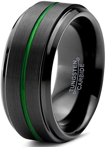 d Ring 10mm for Men Women Green Black Beveled Edge Brushed Polished Center Line Size 11 ()