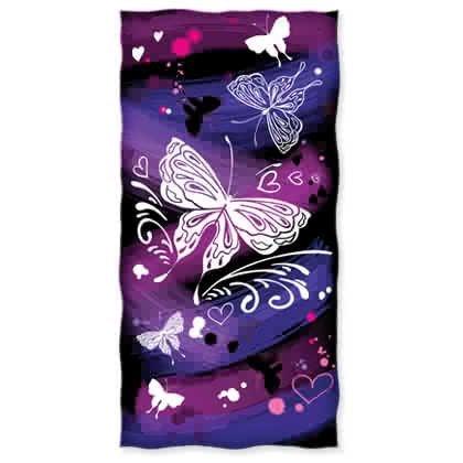 Purple Butterfly Graffiti Design - Beach Towel Butterfly