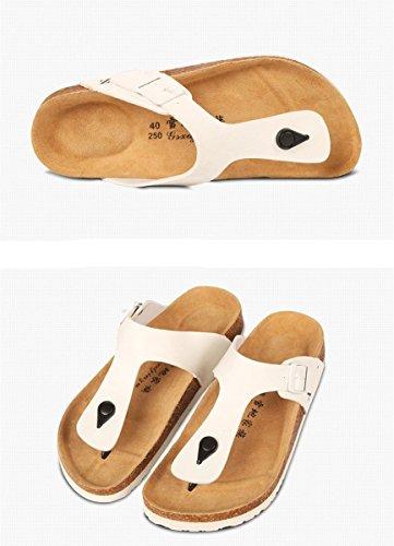 Bininbox Mens Vippor Flat Sandal Andas Sko Öppen Tå Tofflor Kork Vit