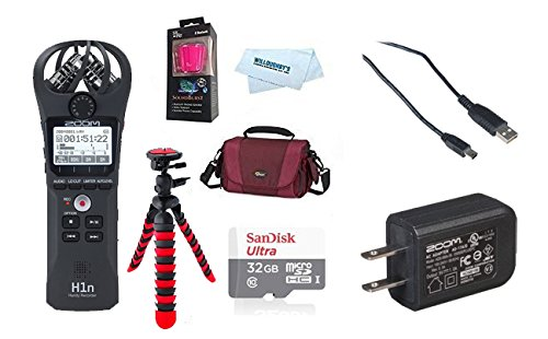 Zoom H1n Digital Handy Recorder (2108) + Zoom AD-17 AC Adapter + The Gadget Accessory Pack + by Willoughby's