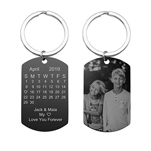 PESOENTH Personalized Calendar Keychain Eengraved Custom Picture Date Stainless Steel Army Dog Tag Pendant Photo Key Chain Ring for Men Women
