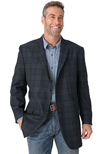 Fully Lined Tailored Blazer (Liberty Blues Men's Big & Tall Holiday Blazer, Holiday Plaid Big-62)
