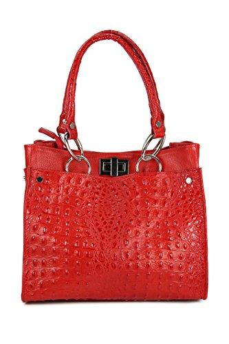 Belli - Bolso de asas de cuero repujado para mujer rojo rojo