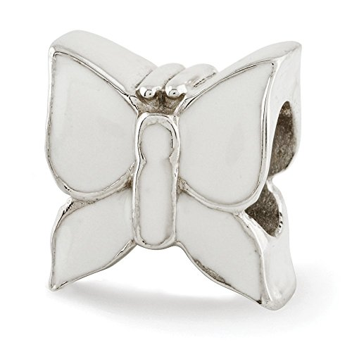 925 Sterling Silver Charm For Bracelet White Enameled Butterfly Bead Nature Fine Jewelry Gifts For Women For Her