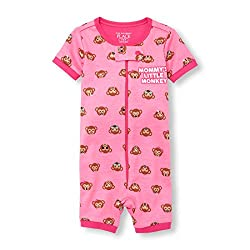 The Children's Place Baby Girls Short Sleeve One-piece Pajamas, Jazzberry, 9-12mos