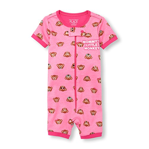 Blanket Knit Graphic (The Children's Place Baby Girls Short Sleeve One-Piece Pajamas, Jazzberry, 9-12MOS)
