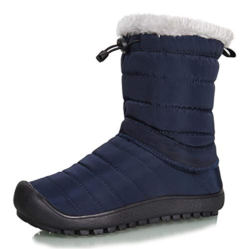 ts Removable Zipper Winter Mid-Calf Ankle Booties Slip On with Warm Fully Fur Lined (Mid Calf-Blue, 41) ()