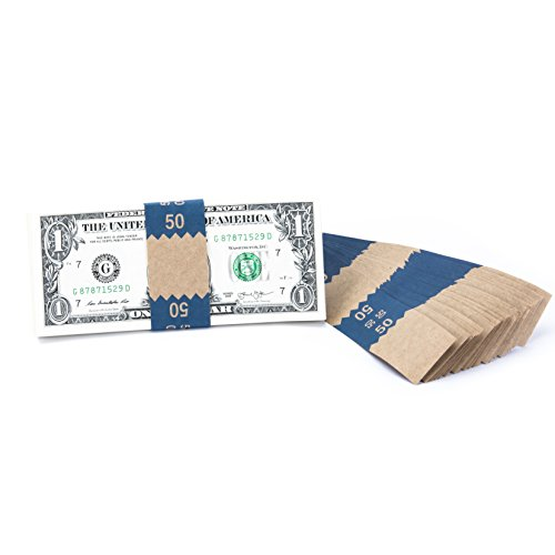 Natural Kraft Saw-Tooth $50 Currency Band Bundles (2000 Bands)
