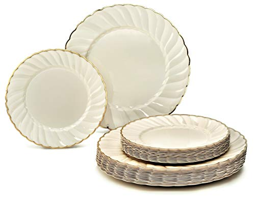 """ OCCASIONS"" 240 Pack Heavyweight Wedding Party Disposable Plastic Plates Set - 120 x 10.25"