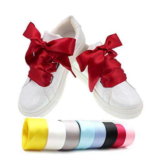 COOL LACE Satin Ribbon Shoelaces Flat Shoe Laces for Sneakers 1 Pair Pack 32mm Wide 3 Different Lengths (47.2, Red)