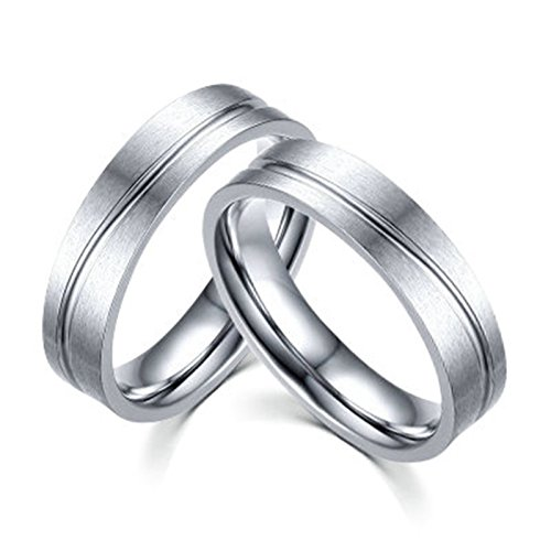 Bishilin Couple Rings Set Stainless Steel Rings for Gay Rings Silver Size 8 & Size 9 ()