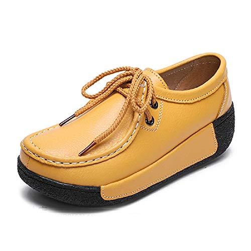 Cuir Noir coloré À Jaune Chaussures Lacets En 37 Zhrui Eu Pour Femmes Taille wZIxBF