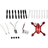 YIPBOWPT for Hubsan X4 H107C Quadcopter Spare Parts Crash Pack, Includes Body Shell, 8x Pair of Black and White Propellers, LiPo Battery, 4x Rubber Feet, 2x Motors, 2x LED Lights