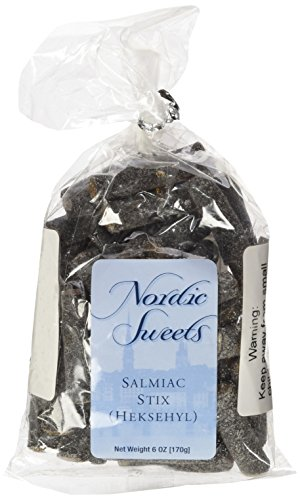 Nordic Sweets Salmiac Licorice Salty Stix Sticks Heksehyl (6 ounce), Product of Denmark