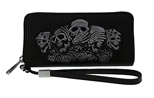 ABC STORY Women Leather Wallet with Wristlet Strap Western SKull Zipper Coins Purse Black -