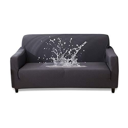 HOTNIU Funda Elástica de Sofá Funda Impermeable para sofá Antideslizante Protector Cubierta de Moda (2 Plazas, Gris)