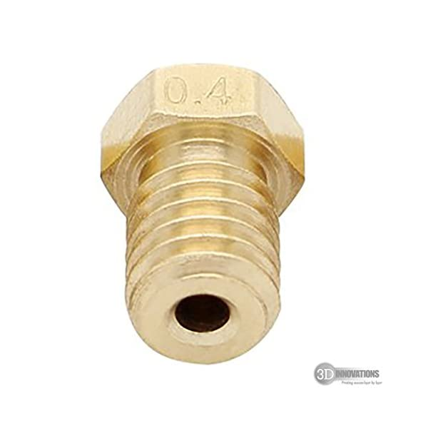 3D Innovations 0.4 mm Extruder Nozzle For 3D Printer, Compatible With E3D V6 And E3D V5 J-Head Hotend And M6 Threaded Extruder