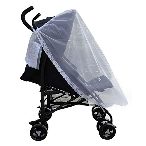 GXOK Universal Lace Mosquito Net for Baby Stroller Cradle Bed,Baby Stroller Bed Net,Summer Safe Baby Carriage Insect Full Cover Mosquito Net