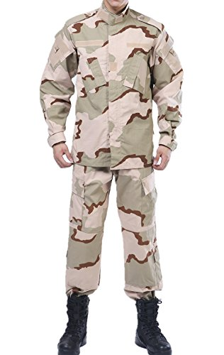 3 Color Desert Camo Tactical BDU Combat Coat Pant Uniform Sets Military Jacket Shirt & Pants Suit ()