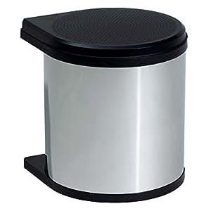 hailo 351203 mono cubo de la basura 12 litros acero y color negro hogar. Black Bedroom Furniture Sets. Home Design Ideas