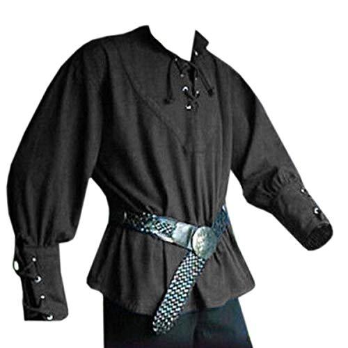 Mens Costume Medieval Lace Up Pirate Mercenary T Shirt Scottish Wide Cuff Shirts Black -