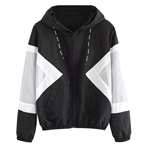 Skinsuits Manches Mince Femmes Longues Malloom Noir Hooded Manteau Sport Zipper Patchwork Poches ZEYnqXfw5x