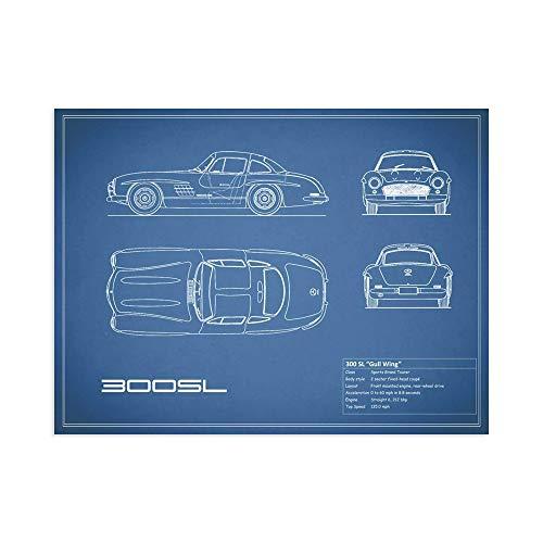 Print on Canvas Wall Art Rogan, Mark Mercedes 300SL Gullwing-Blue Size 20x 28 (70x50 cm) ()