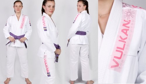 Vulkan Pro Light BJJ Gi White with Pink Patches A2