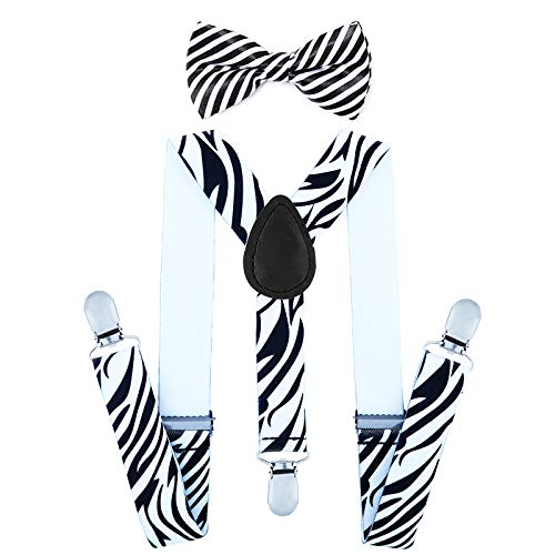 Child Kids Suspenders Bowtie Set - Adjustable Suspender Set for Boys and Girls (Zebra Pattern) for $<!--$7.69-->