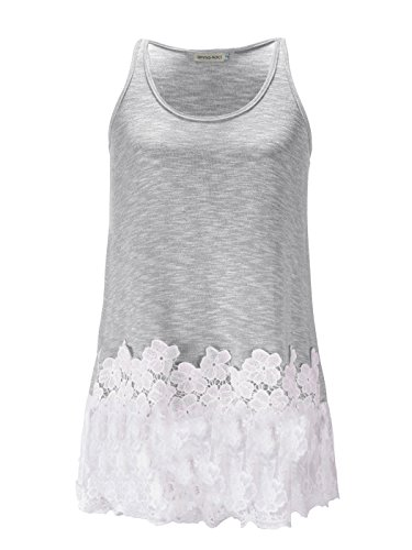 Anna-Kaci Womens Casual Flowy Fit Long Tunic Tank Top with Lace (Anna Outfit)